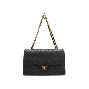 Chanel Matelasse A01112 Double Flap Double Chain Bag Women's Leather Shoulder Bag Black