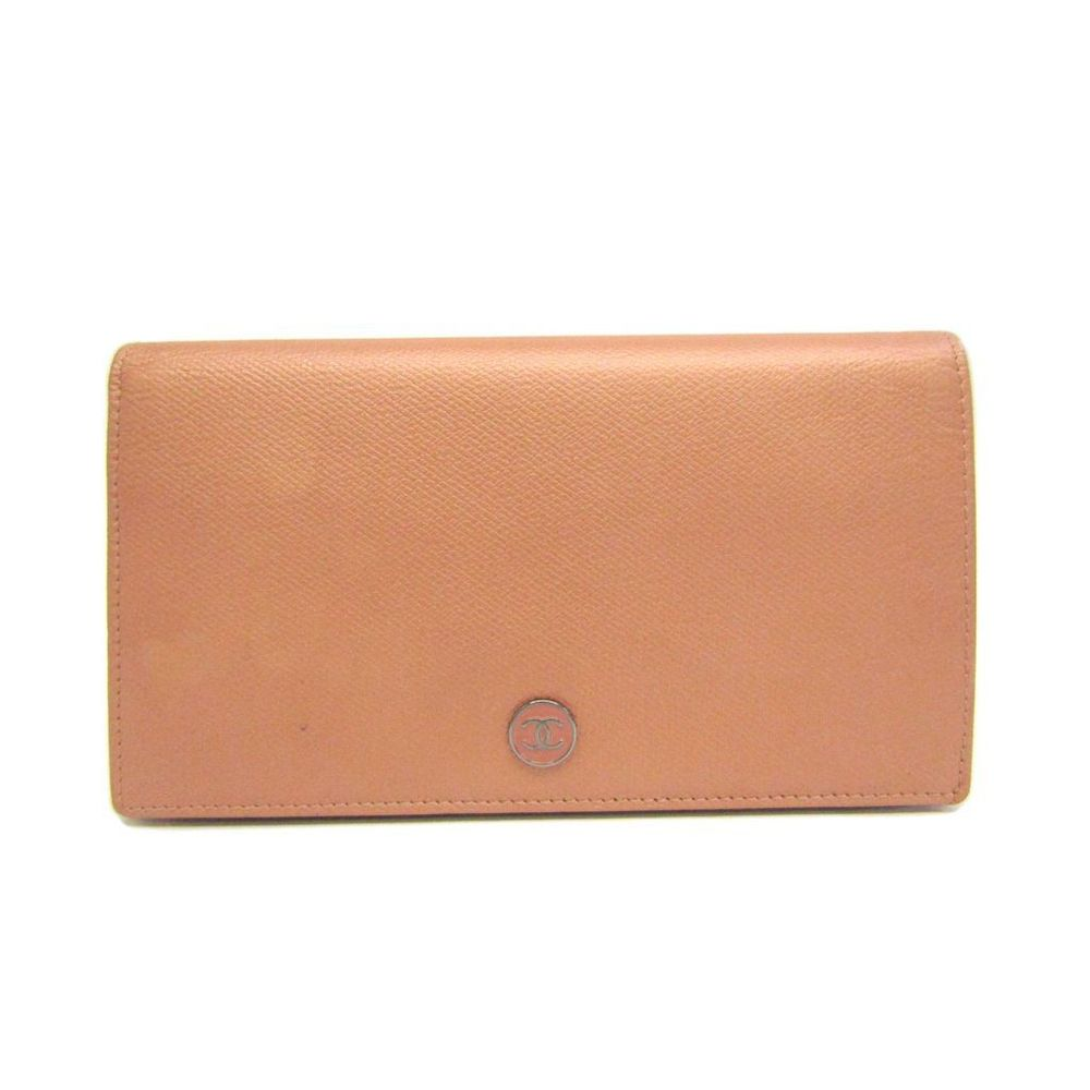Chanel Coco Button A20904 Long Wallet (bi-fold) Metallic Pink
