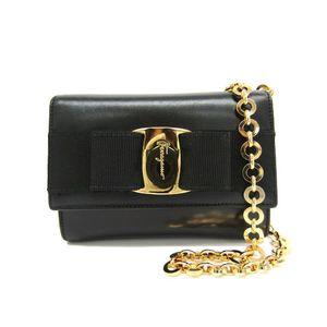 Salvatore Ferragamo Vara 21-3202 Women's Leather Pochette Black