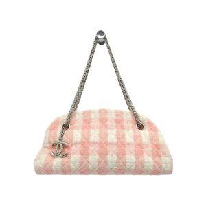 Chanel Mademoiselle Women's Tweed Shoulder Bag Ivory,Pink