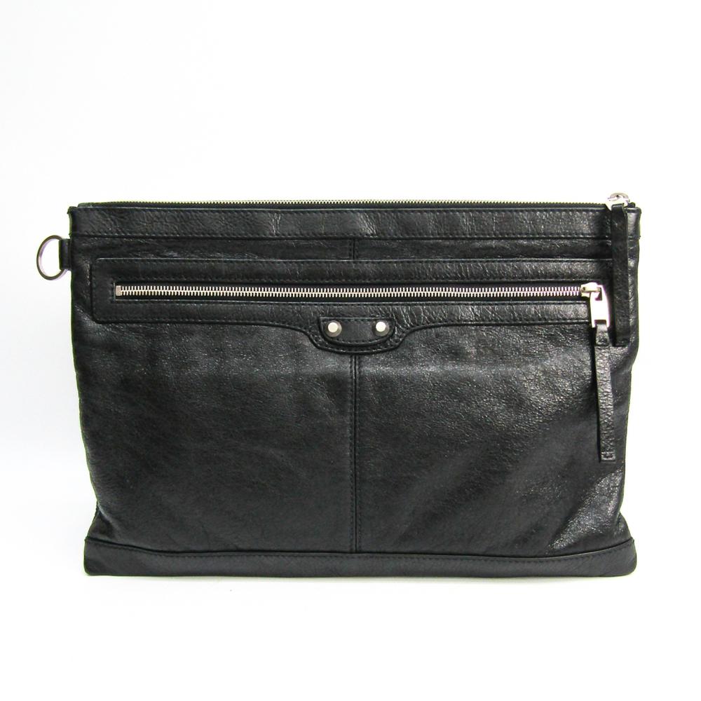 Balenciaga 273023 Unisex Leather Clutch Bag Black