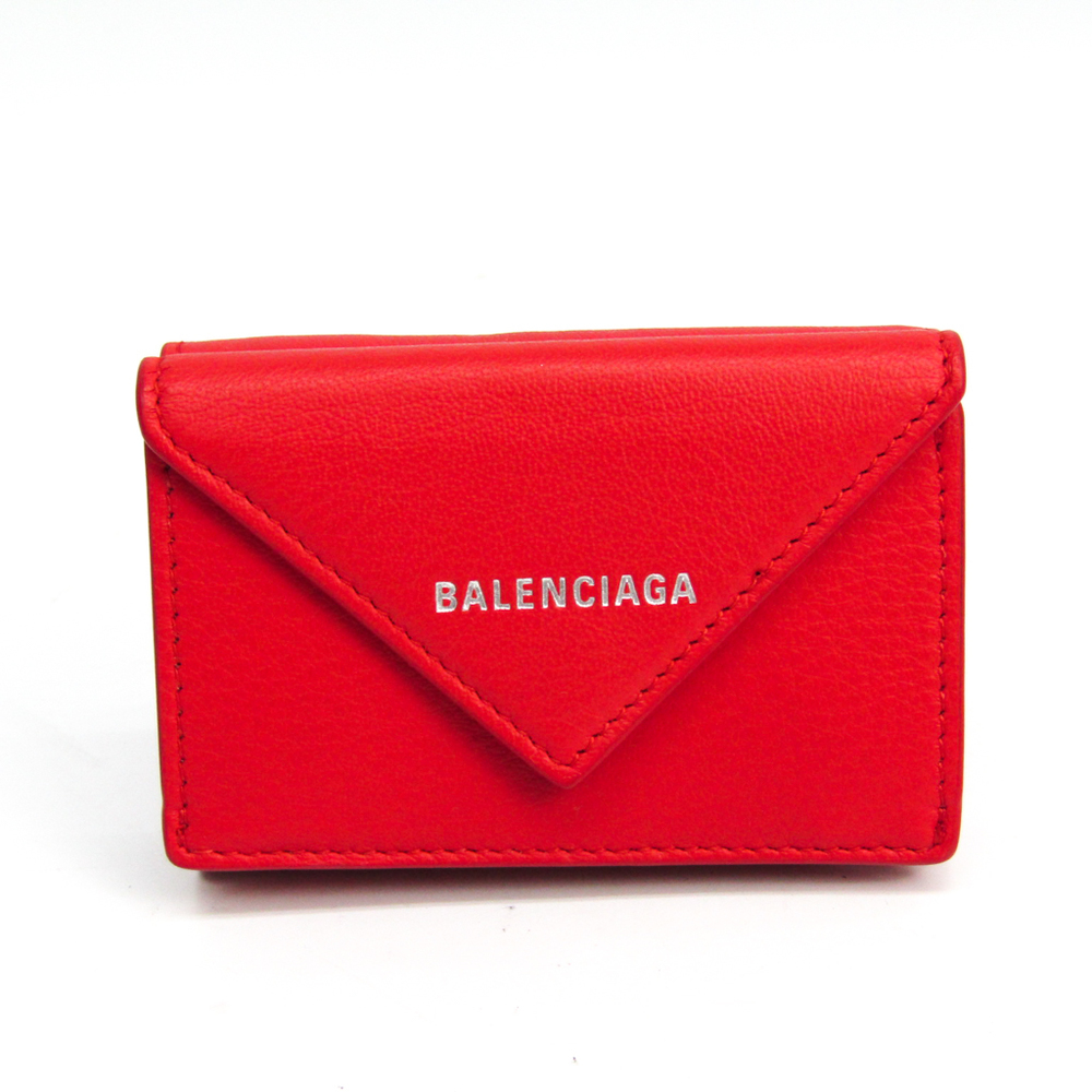 Balenciaga Paper Mini Wallet 391446 Women's Leather Wallet (tri-fold) Red