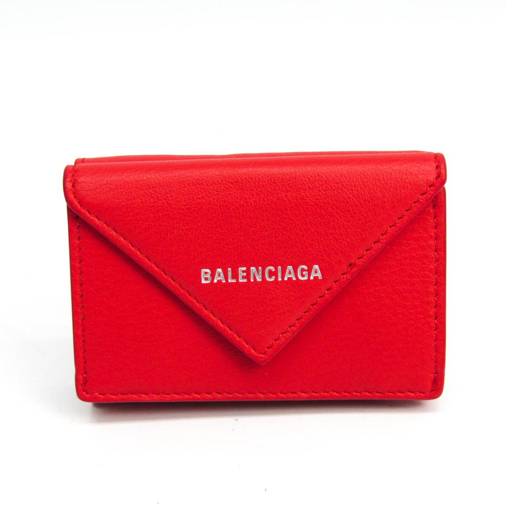 バレンシアガ(Balenciaga) ペーパー ミニウォレット 391446 レディース レザー 財布(三つ折り) レッド