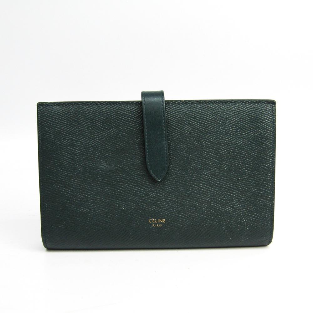 Celine Large Strap Wallet 10B633BFP Women's  Calfskin Long Wallet (bi-fold) Green