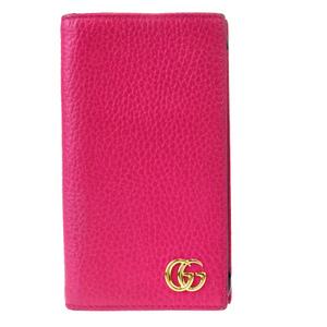 グッチ(Gucci) GGマーモント レザー 手帳型/カード入れ付きケース iPhone 7 対応 ピンク