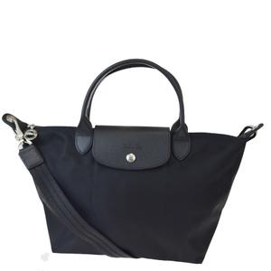 ロンシャン(Longchamp) ル・プリアージュ 2WAY ナイロン,レザー ハンドバッグ ブラック