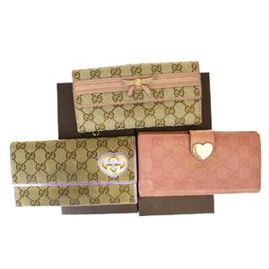 グッチ(Gucci) 3セット レザー,キャンバス 長財布(二つ折り) ブラウン,ピンク,パープル