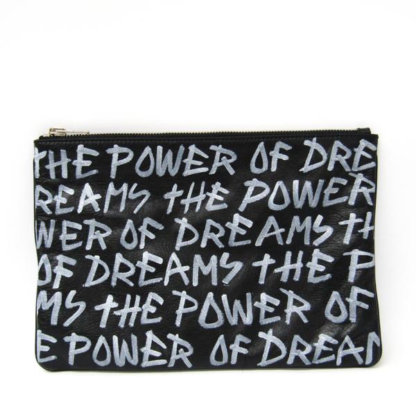 バレンシアガ(Balenciaga) THE POWER OF DREAMS 535532 レディース レザー クラッチバッグ ブラック,ホワイト
