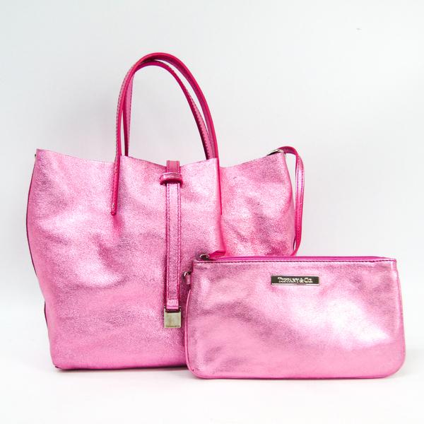 ティファニー(Tiffany) リバーシブル レディース レザー トートバッグ メタリックピンク