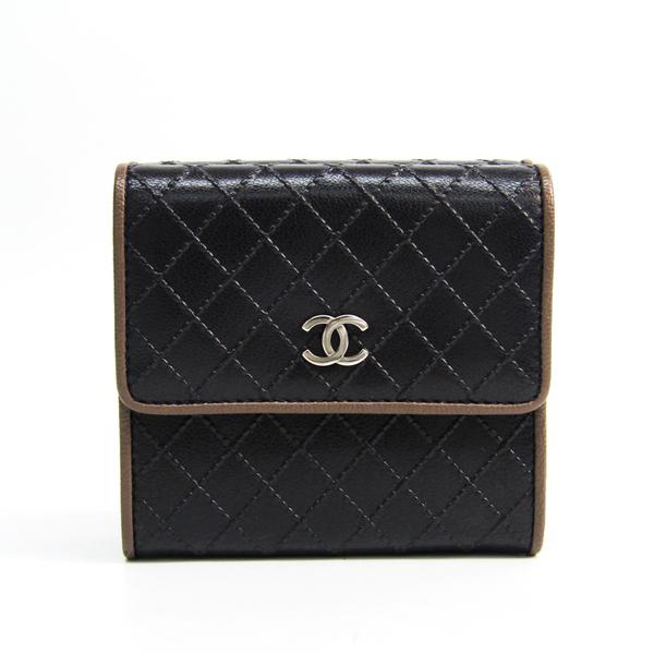 シャネル(Chanel) マトラッセ マトラッセステッチ レディース レザー 財布(三つ折り) ブラウン,ダークパープル