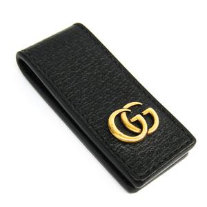 グッチ(Gucci) 522885 メンズ  カーフスキン マネークリップ ブラック,ゴールド