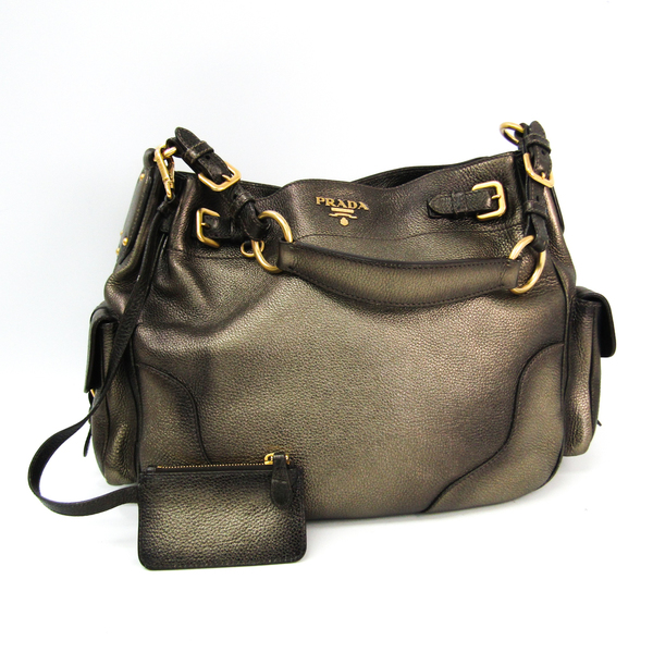 Prada BR3778 Women's Leather Shoulder Bag Bronze