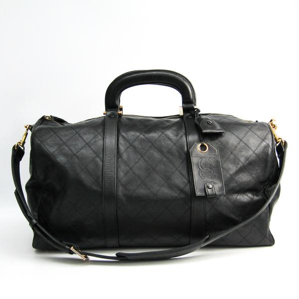 Chanel Matelasse Women's Leather Boston Bag,Handbag Black