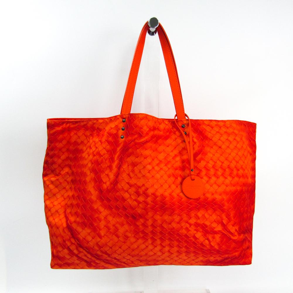 ボッテガ・ヴェネタ(Bottega Veneta) イントレッチオリュージョン レディース レザー,ナイロン トートバッグ オレンジ