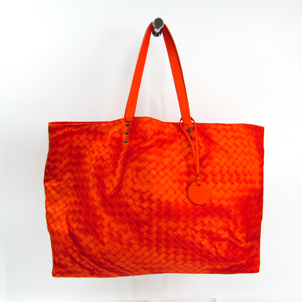 Bottega Veneta Intrecciolusion Women's Leather,Nylon Tote Bag Orange