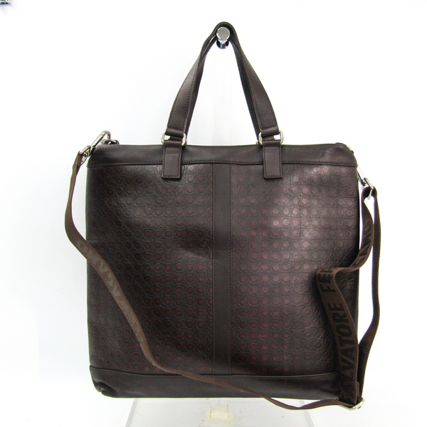Salvatore Ferragamo FB-24 8782 Men's Leather Handbag,Shoulder Bag Dark Brown