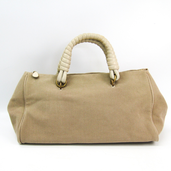 Bottega Veneta 192948 Canvas,Leather Boston Bag Beige
