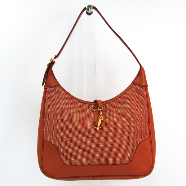 Hermes Trim Women's Taurillon Clemence Leather,Toile H Shoulder Bag Brown