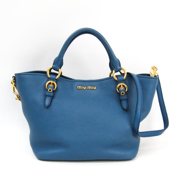 Miu Miu Nappa Cristal RT0498 Women's Leather Handbag,Shoulder Bag Blue