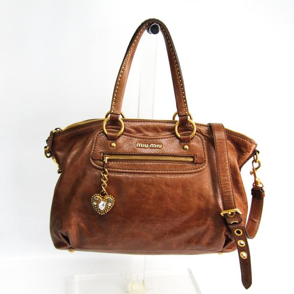 Miu Miu RR1732 Women's Leather Handbag,Shoulder Bag Brown