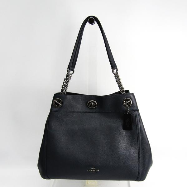 Coach EDIE 36855 Women's Leather Shoulder Bag Navy