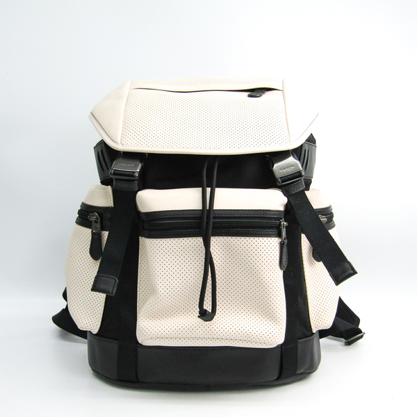 Coach 57408 Flag Backpack In Pebble Leather Men's Leather Backpack Black,White