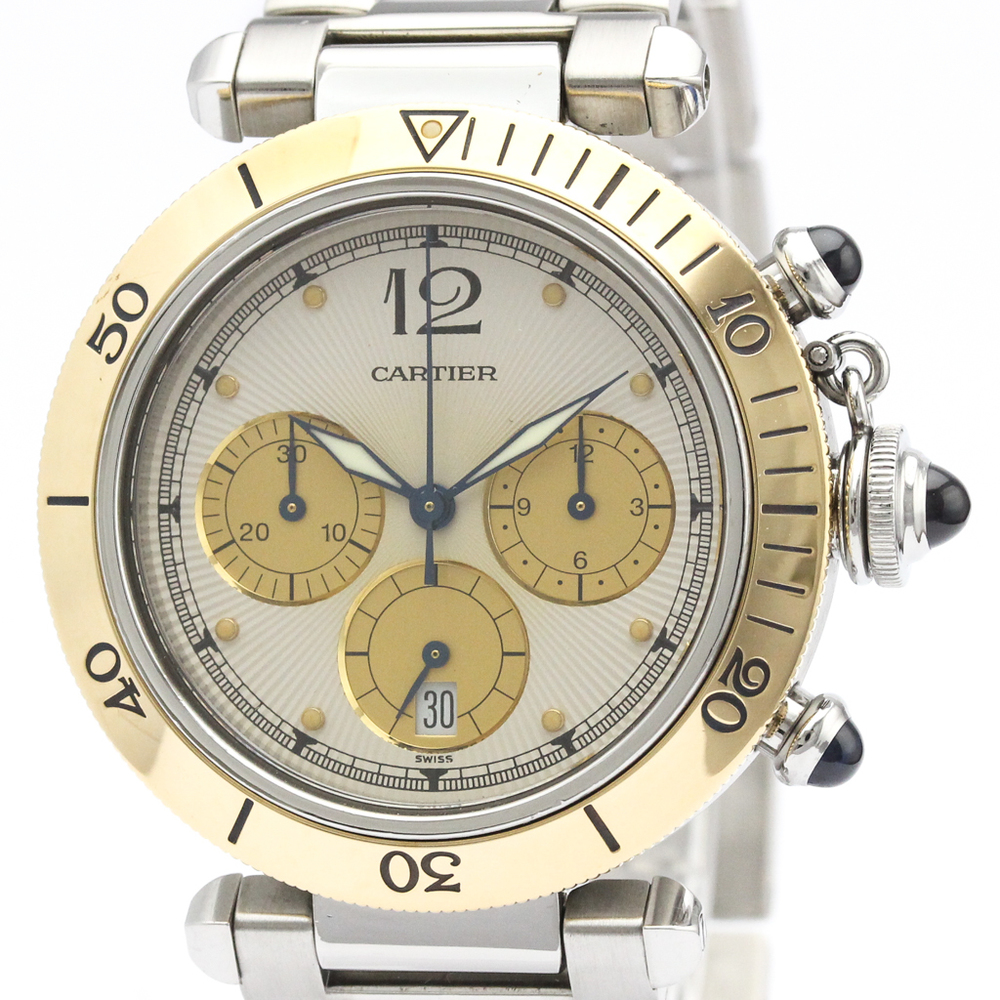 CARTIER Pasha 38 Chronograph 18K Gold Steel Watch W3101155