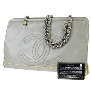 シャネル(Chanel) CC logo チェーン パテントレザー ショルダーバッグ グレー