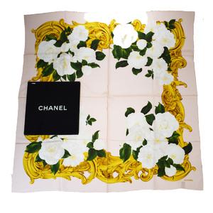 シャネル(Chanel) シルク スカーフ ピンク
