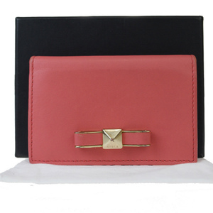 Furla Ribbon Leather Card Case Pink