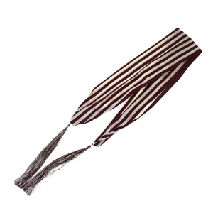 Celine Fringe Silk Cotton Scarf Striped Bordeaux