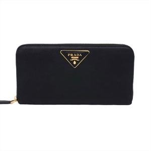 プラダ(Prada) 1ML506 レディース レザー 財布 ブラック,ゴールド
