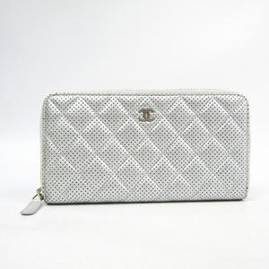 シャネル(Chanel) マトラッセ レディース  パンチングレザー 長財布(二つ折り) シルバー