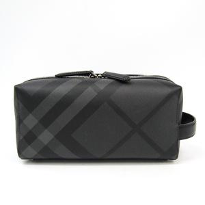 バーバリー(Burberry) ロンドンチェック 4068330 メンズ レザー,PVC クラッチバッグ,ポーチ ブラック,チャコールグレー