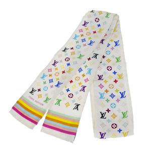 ルイ・ヴィトン(Louis Vuitton) モノグラム マルチ シルク スカーフ ホワイト