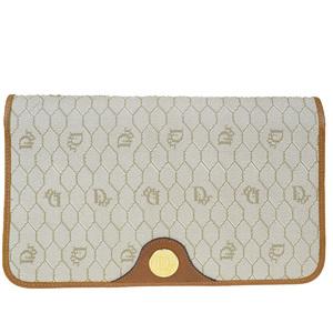 クリスチャン・ディオール(Christian Dior) PVC,レザー クラッチバッグ ベージュ