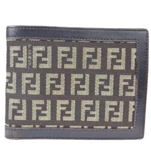 フェンディ(Fendi) ズッカ レザー,キャンバス 財布(二つ折り) カーキ