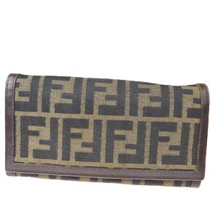 フェンディ(Fendi) ズッカ レザー,ナイロン 長財布(二つ折り) ブラウン