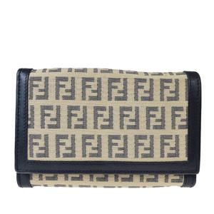 フェンディ(Fendi) ズッカ レザー,キャンバス 財布(二つ折り) ベージュ,ブラック