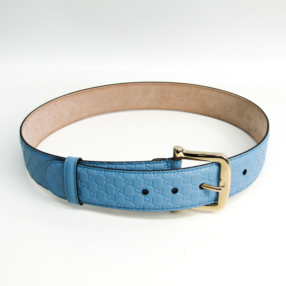 Gucci Guccissima 281548 Unisex Leather Belt Blue 80