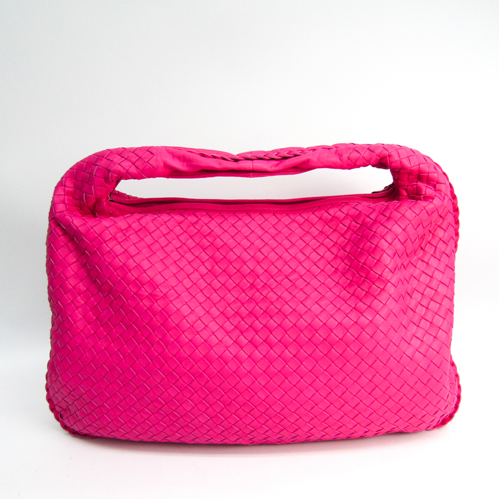 Bottega Veneta Intrecciato Hobo M 115654 Leather Shoulder Bag Pink