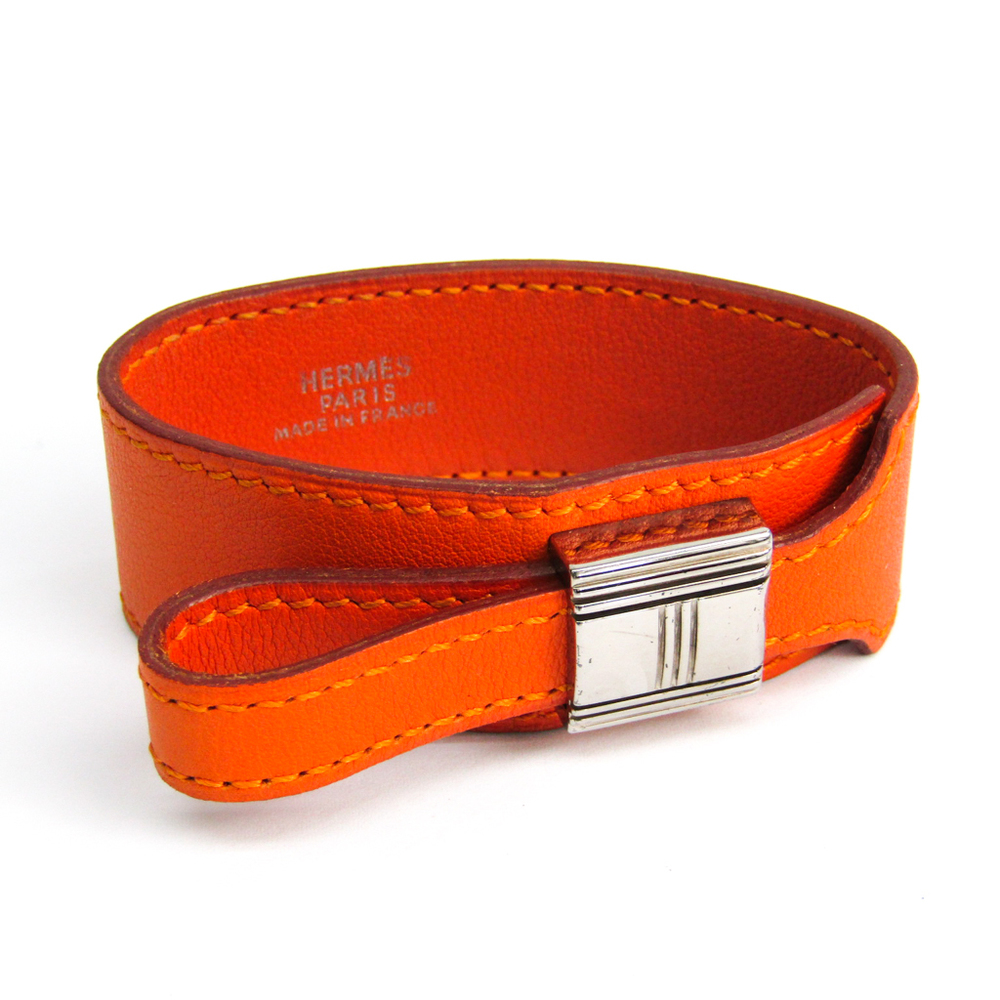 Hermes Artemis Leather,Metal Bracelet Orange,Silver