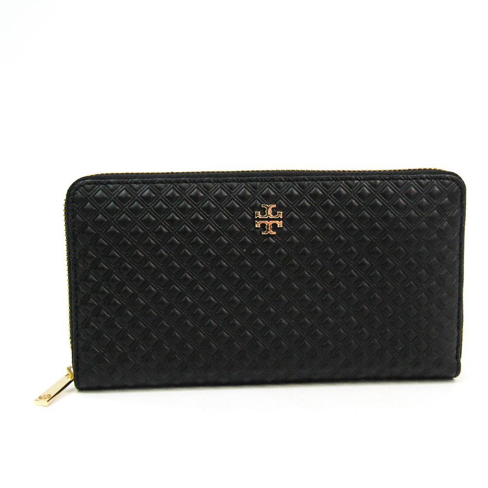 Tory Burch MARION EMBOSSED 31159091 Women's  Embossed Leather Long Wallet (bi-fold) Black