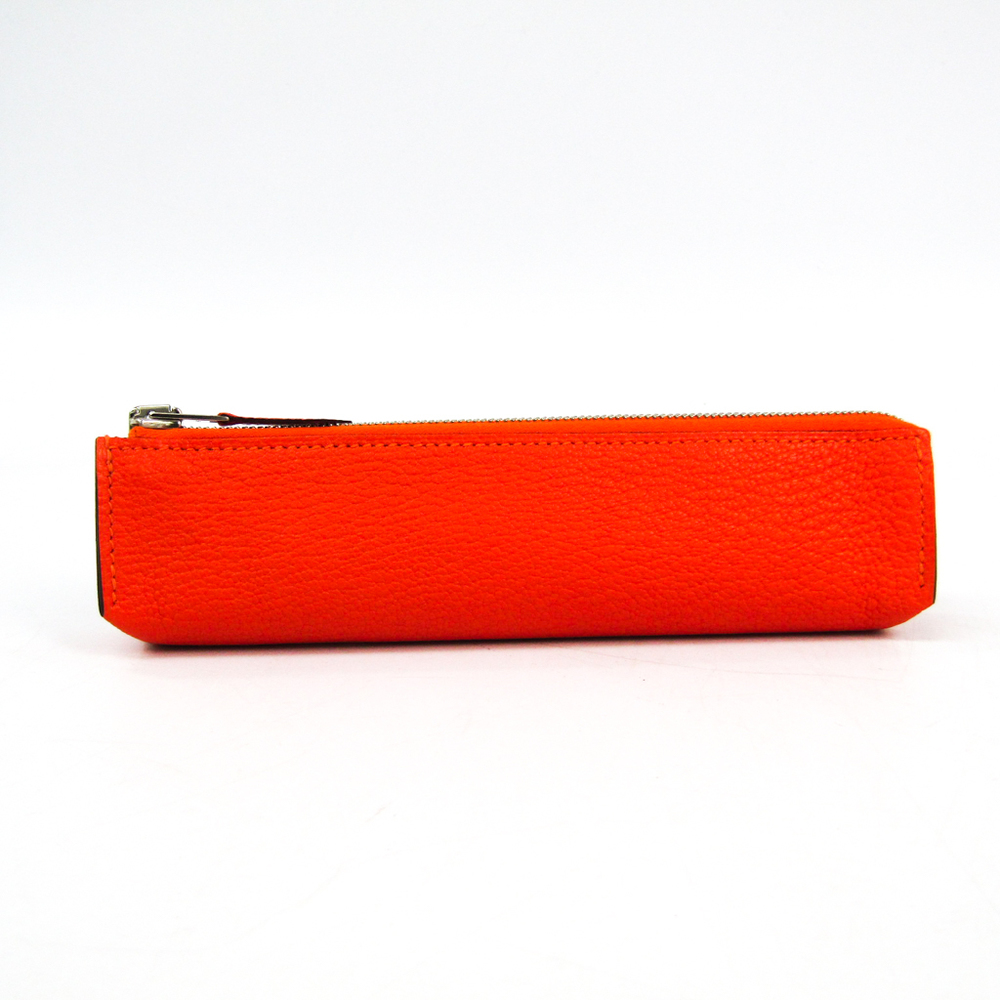 Hermes Piccolo Chevre Leather Pen Case (Orange)