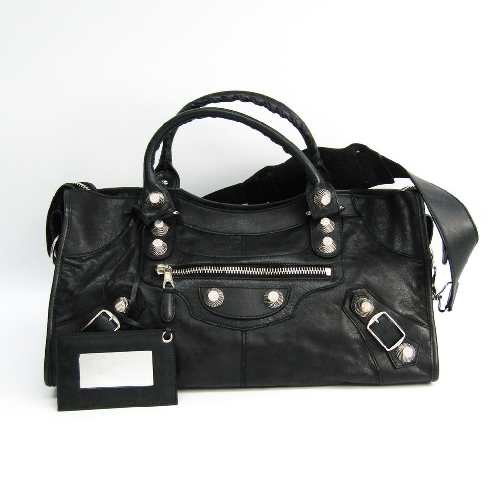Balenciaga Giant Part Time 173082 Women's Leather Handbag,Shoulder Bag Black