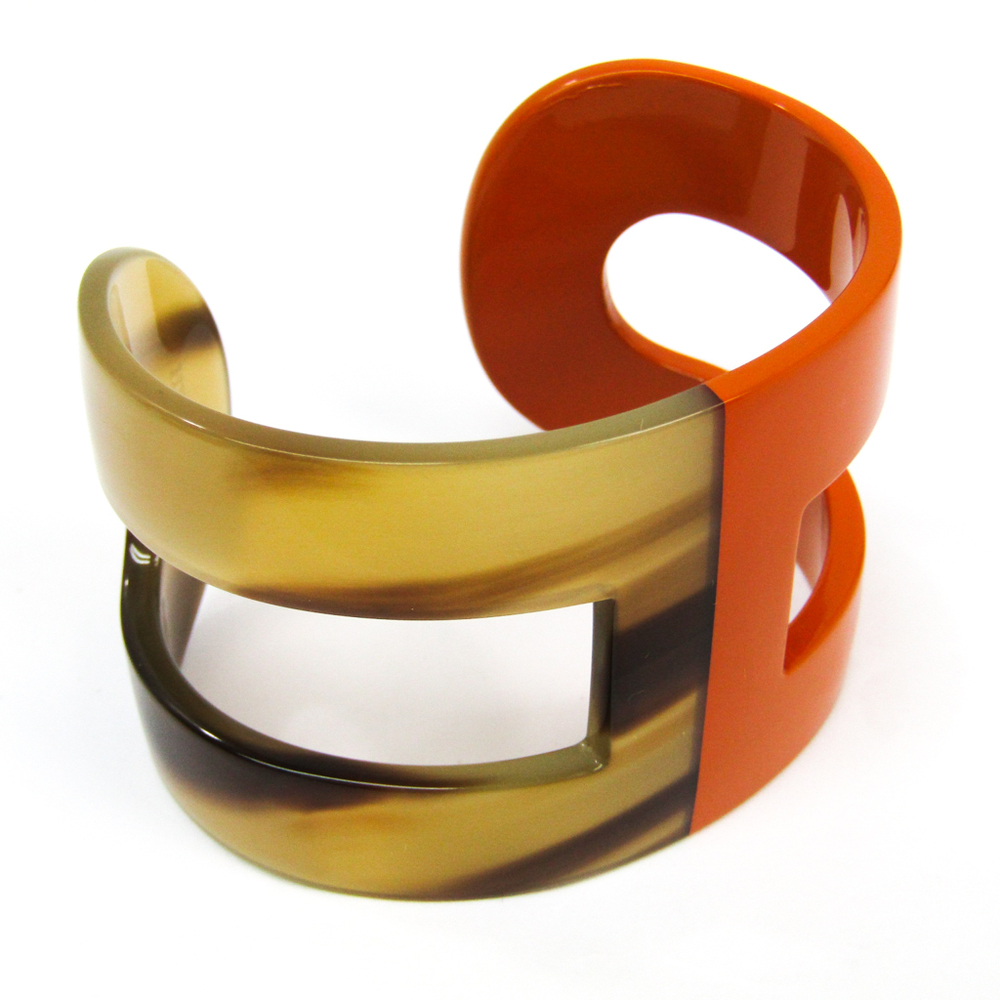 エルメス(Hermes) アノバングル バッファローホーン,プラスチック ブレスレット ブラウン,オレンジ