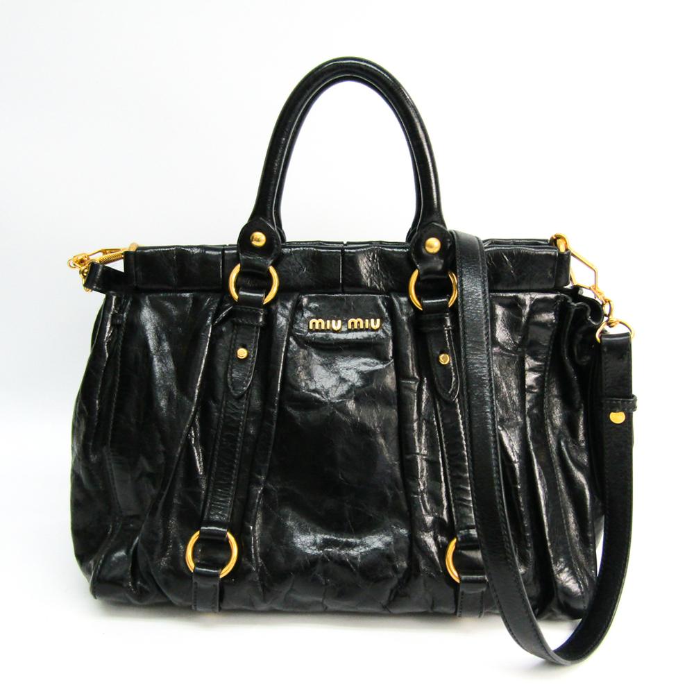 Miu Miu 5BA383 Leather Handbag,Shoulder Bag Black