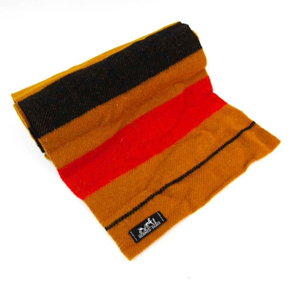 Hermes LOCAVAR Women's Wool Scarf Striped Navy,Red,Yellow