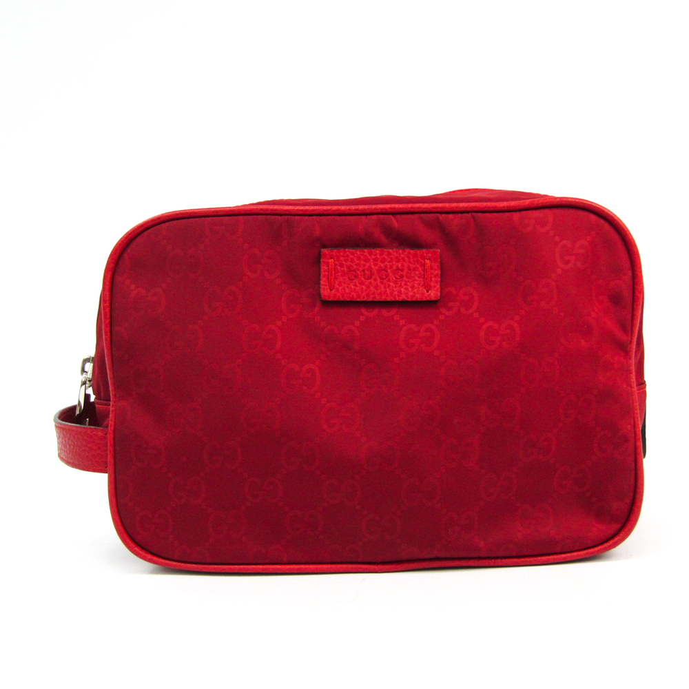 Gucci Second Bag 510338 Unisex Nylon,Leather Clutch Bag Red Color