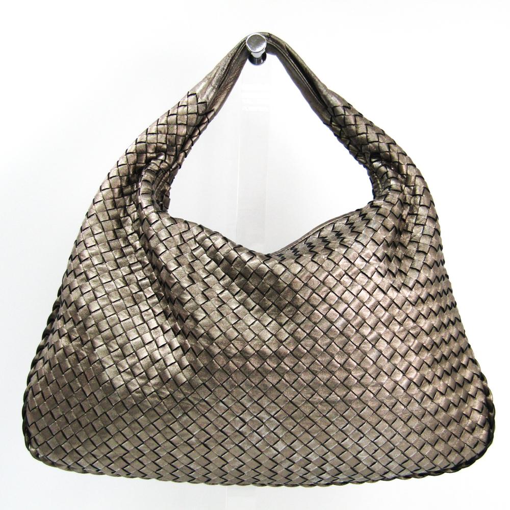 Bottega Veneta Intrecciato Hobo M 115654 Women's Leather Shoulder Bag Metallic Bronze